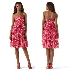 White House Black Market PINK FLORAL CHIFFON DRESS